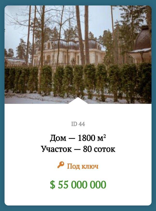 Объявление на продажу в коттеджном поселке Сады Майендорф: дом в 1800 квадратный метров за 55 миллионов долларов