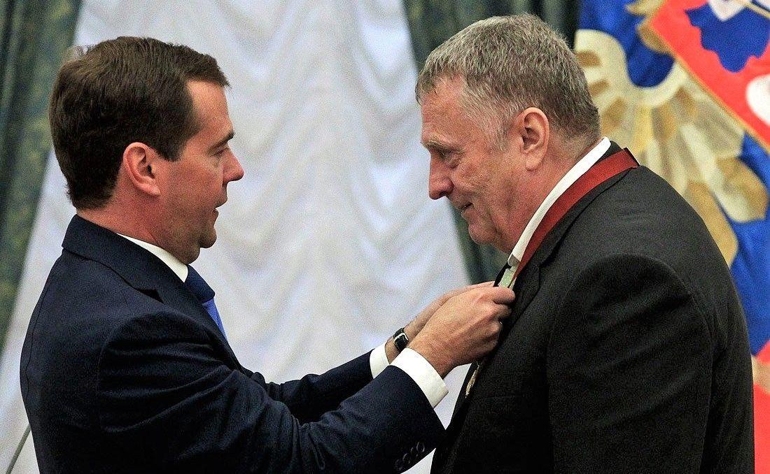 Дмитрий Медведев награждает Владимира Жириновского за заслуги в законотворческой деятельности и развитии российского парламентаризма, 2011 год